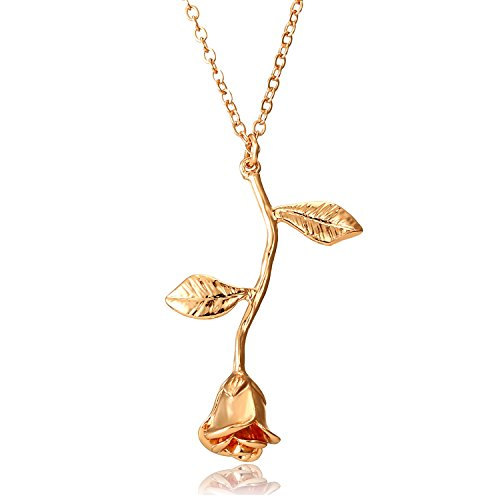 Gmai Vintage Rose Flower Pendant Necklace Lovers Birthday Friendship Jewelry Gift (Gold)