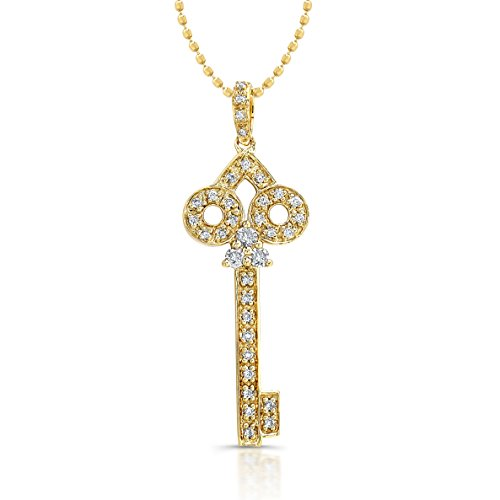 Victoria Kay 14k Yellow Gold Diamond Key Pendant (1/5cttw, IJ, I1-I2), 16