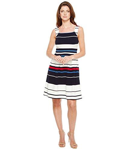 上に築きます肥料お風呂を持っている[アドリアナパペル] Adrianna Papell レディース Sleeveless Ottom Stripe Fit and Flare Dress ドレス [並行輸入品]