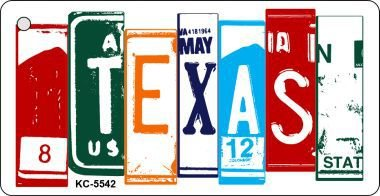 (Texas License Plate Art Metal Novelty Key Chain KC-5542)