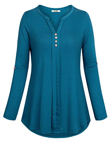 Vivilli Women 3/4 Roll-up Sleeve Notch Neck Henley Shirt Button Down Blouse Knit Tunic TopDark Cyan X-Large