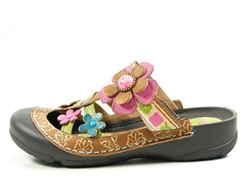 femme kaki Braun Phenix cuir Laura Vita sandale xqBftTRT