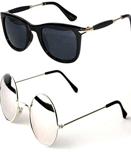 8d40eb13a3 Y S Wayfarer Unisex Sunglasses - Set of 2 (Black)  Amazon.in  Clothing    Accessories