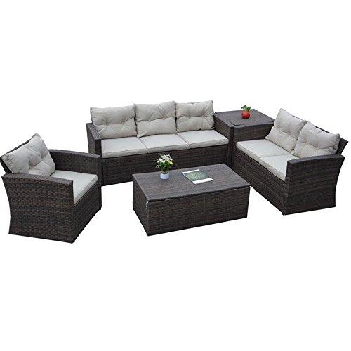The-Hom Rio 5 Piece Wicker Conversation Set in Beige and Dark Brown (The-hom Outdoor Furniture)