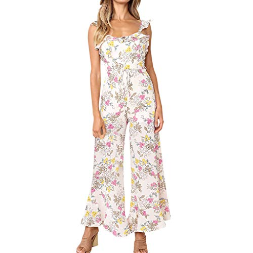 (Landfox Dress, Temperament Women's Oversize Casual Pint Harem Pants Loose Trousers Jumpsuit White)
