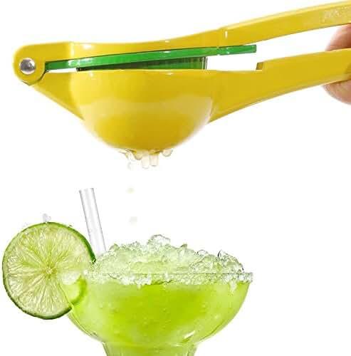 WILDJUE Manual Citrus Press Juicer Top Rated Premium Quality Metal Lemon Lime Squeezer - (Yellow)