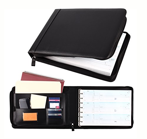 Business Check 7 Ring Binder for 3-Up Checks PU Leather Portfolio Checkbook Cover with Zipper (Black)