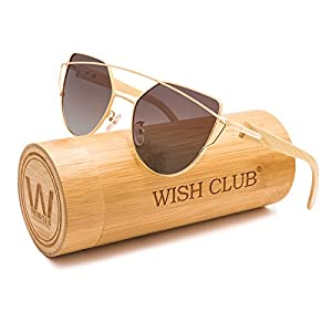 WISH CLUB Wood Cateye Fashion Flat Lens Sunglasses for Women with UV400 Protection