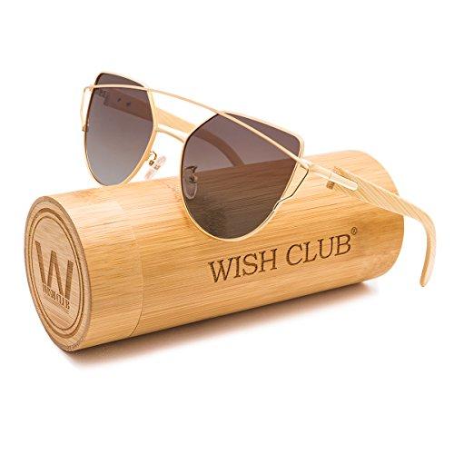 WISH CLUB Fashion Wood Polarized Cat Eye Lenses Sunglasses for Women and Men Wooden Bamboo Handmade Cateye Fashion Rimmed Eyewear Mirrored Light Glasses with Box UV400 - Sunglass Club