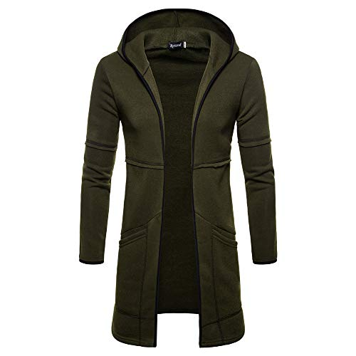SSYUNO Fashion Warm Mens Hooded Solid Long Section Trench Coat Jacket Cardigan Long Sleeve Outwear Blouse (Trench Section)