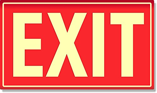 (Photoluminescent Aluminum Exit Sign (RED))