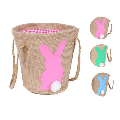 - Easter Bunny Gift Basket - Easter Treat Bag Easter Decor Egg Baskets for Kids Burlap Bag to Carry Candy and Gifts