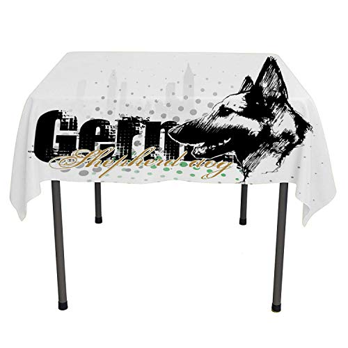 German Shepherd Table Cloths Spill Proof Monochrome Sketch Art Hound Pet Design Colorful Halftone Backdrop Multicolor Dinning Tabletop Decoration Square tablecloths 50 by 50 inch
