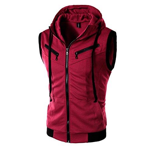 Chen Men Tee Sleeveless Zip Up Drawstring Hooded Vest Fashion Sports Cardigan (US S, Red)