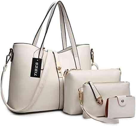 a8901972e14ee TIBES Fashion Women's PU Leather Handbag+Shoulder Bag+Purse+Card Holder  4pcs Set