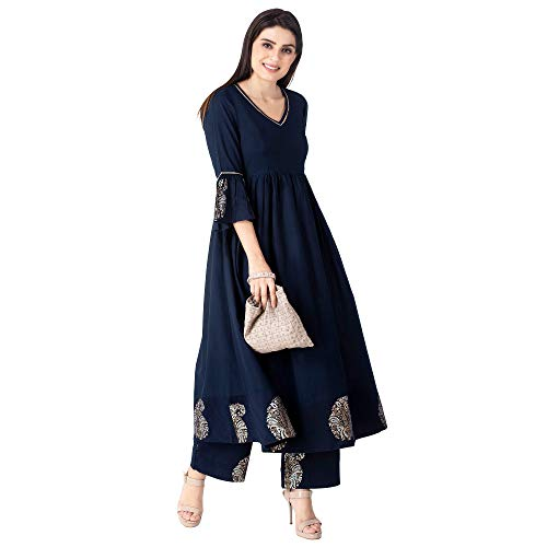 (KHUSHAL Women's Cotton Kurta with Palazzo Pant Set Dark-Blue)