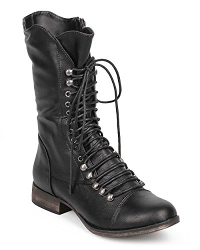 Georgia 74 Women Military Lace Up Mid Calf Combat Boot Black 9 (Womens Military Boots)