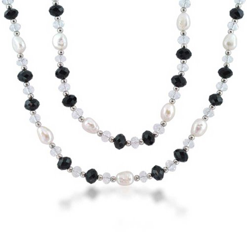 (Freshwater Cultured Pearl Rhodium Plated Necklace 40)
