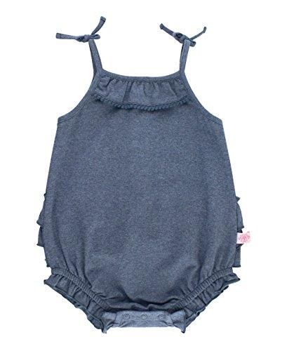 RuffleButts Baby/Toddler Girls Faux Denim Pom Pom Bubble Romper - 12-18m