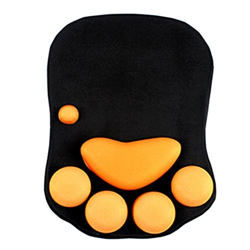 [Cat Paw] Soft Silicone Wrist Rests Cute Wrist Cushion Mouse Pad, Grey+Pink, 7.9x11.4 ()