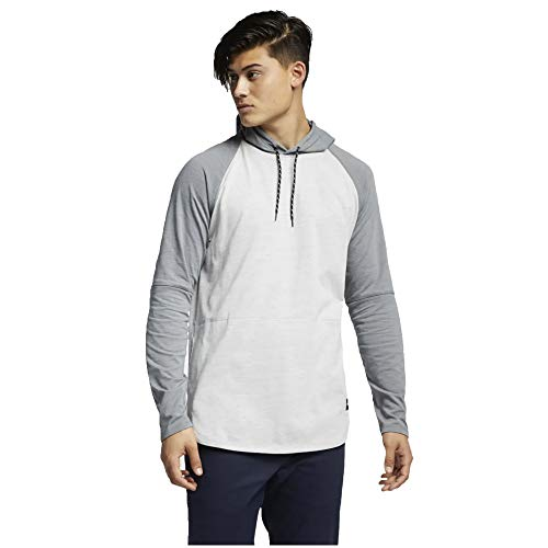 Hurley Men's Dri-Fit Grant Long Sleeve Hooded String Tie Fitted Tee Active Athlete, Summit White (SMMTWHT/121), Small