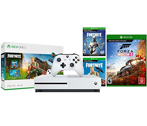 Xbox One S Battle Royale FH 4 Bundle: Fortnite, Eon Cosmetic, 2,000 V-Bucks, Forza Horizon 4 and Xbox One S 1TB Gaming Console – White