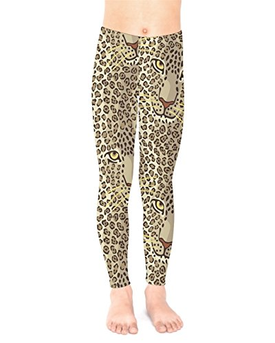 (PattyCandy Toddler Girls Stretchy Hand Drawn Tiger Head Pants Tights - 8)
