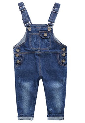 Baby Boys Girls Bib Jeans Pants Casual Button Denim Overalls Denim Toddler Bib