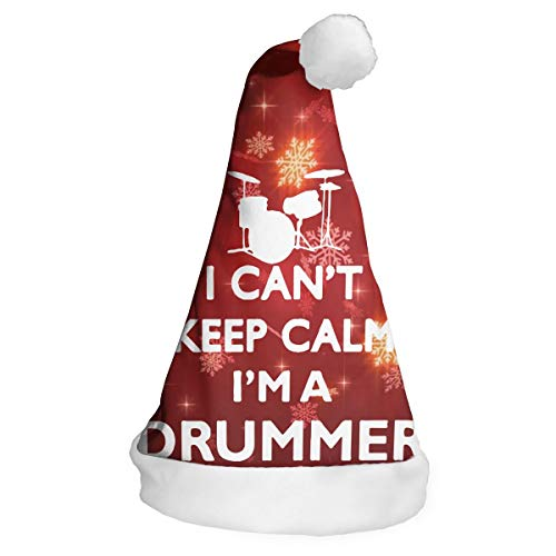 XM9AS3HAT I Can't Keep Calm I'm A Drummer Christmas New Years Xmas Holiday Christmas Santa Hats for Children Adults
