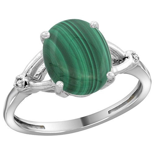 Sterling Silver Diamond Natural Malachite
