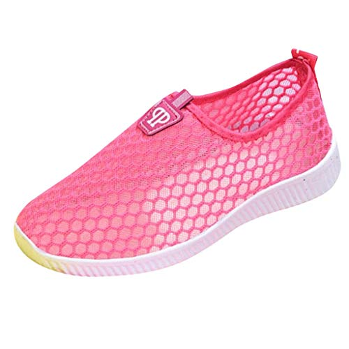Women Mesh Running Shoes - POHOK Women's Flat With Slip On Casual Breathable Lightweight One Foot Lazy Shoes(39,Red) ()
