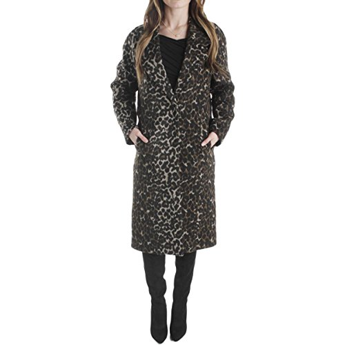 a Animal Print Notched Collar Coat Black S (Animal Print Trench Coat)