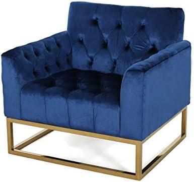 Christopher Knight Home Doris Modern Jewel Toned Velvet Arm Chair, Navy Blue, Rose Gold