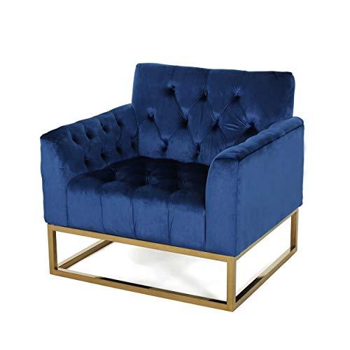 Doris Modern Jewel Toned Velvet Arm Chair, Navy -