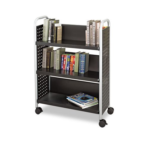Black Safco Scoot One-Sided Steel Book Cart, Three Shelves, 32-1/2 x 13-3/4 x 45 - BMC-SAF (Safco 3 Shelf)