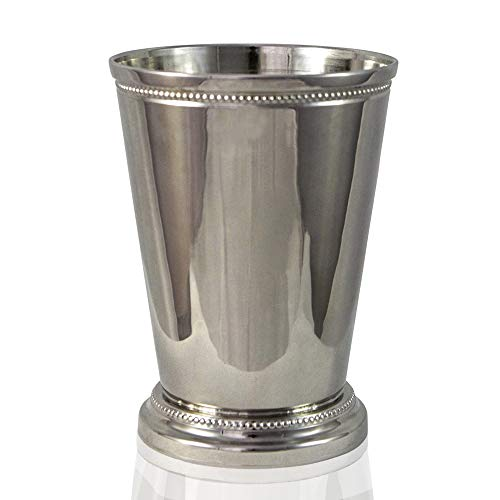 (Mint Julep Cup - 12 Oz, Solid Aluminum Nickel Plated Beautifully Beaded Trim Edging Mint Julep Cups Capacity 12 Ounce for Drink Mix!)