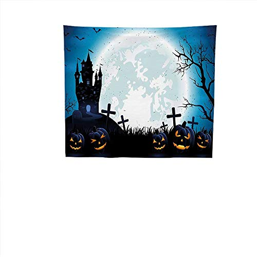 Tapestry Wall Hanging (35W x 35L Inch Home Decorations Bedroom Dorm Halloween Decorations Spooky Concept Halloween Icons Old Celtic Harvest Festival Figures in Dark Image -