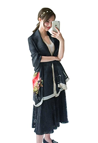 (JD SUITCASE Women's Charmeuse Silk Scarf Floral Long Shawl Scarf-Black)