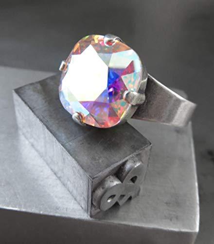 6950596ba951 Amazon.com  Crystal Shimmer Cocktail Ring with Swarovski Crystal AB Finish
