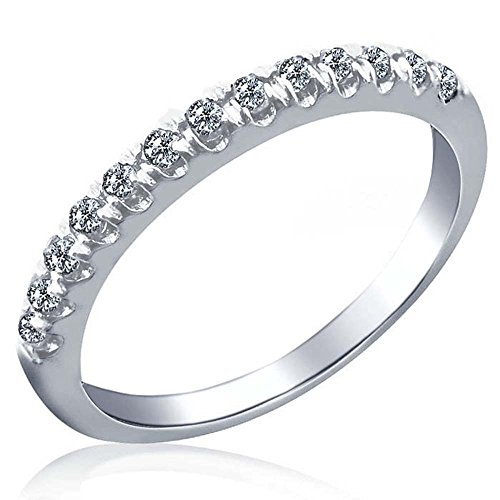 Pave Set Diamond Wedding Anniversary Band 10k White Gold size 8 (1/4 Cttw, I Color I Clarity)