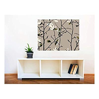 Removable Wall Sticker Wall Mural Magnolia Seamless Pattern Creative Window View Wall Decor