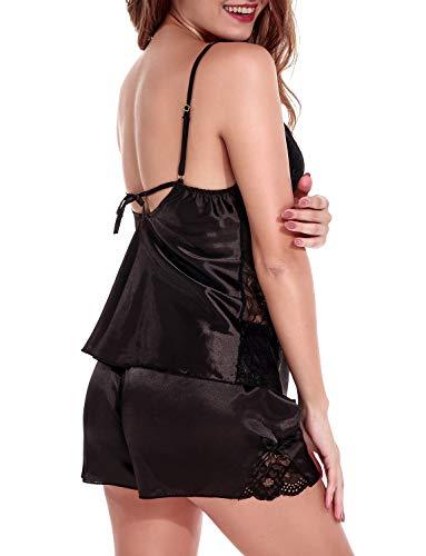 pantaloncini vestaglia Pizzo set pigiama di donna raso Camicia sexy Vestaglia Nero I18FFP