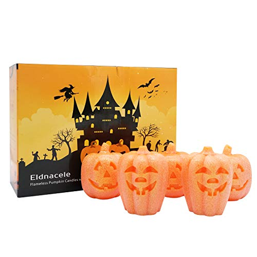 DDXJ Decorative Candles Flameless, Jack O Lantern Light Battery Operated Pumpkin Light, Real Wax Flameless LED Candles with 6H Timer for Home Holiday Decoration