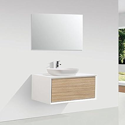 Mueble de baño MONTADO 90cm PALIO, blanco / roble claro: Amazon.es ...
