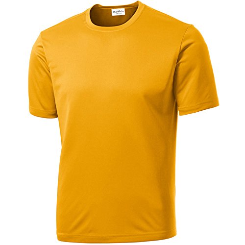 Clothe Co. Men's Short Sleeve Moisture Wicking Athletic T-Shirt, Gold, XL ()