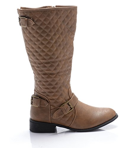 WOMEN LADIES QUILTED BUCKLE RIDING KNEE FLAT FUR LINED WINTER BOOTS SIZE 3-8 Tan Nj3xGSgJu