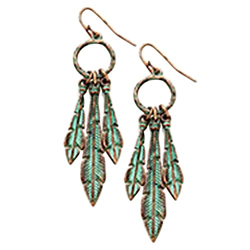 Rosemarie-Collections-Womens-Tribal-Triple-Feather-Dream-Catcher-Earrings-Copper-Patina-Color