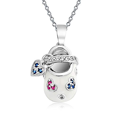 Baby Shoe Charm Pendant Necklace Gift For New Mother Women White Red Blue Enamel CZ Heart Engravable 925 Sterling Silver