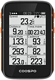 CooSpo GPS Bike Computer Wireless Cycling Computer Speedometer Odometer with 2.4 Inch LCD Display 3 Satellite