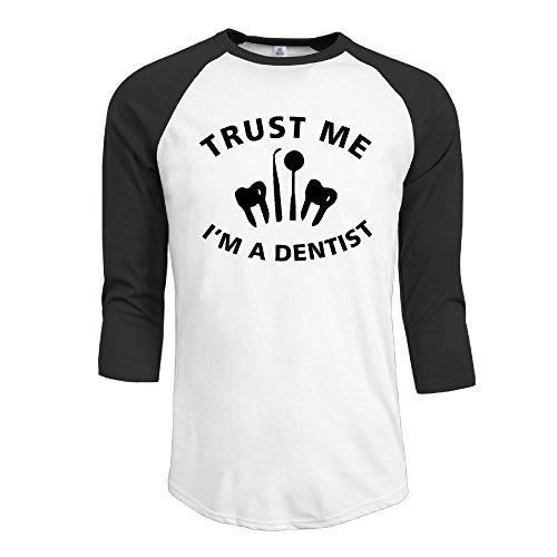(Men's Trust Me I Am A Dentist 3/4 Sleeve Raglan Baseball Tee)